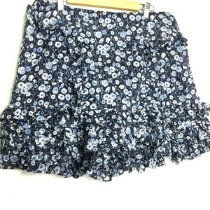 Eva Mendes NYC Lined Ruffle Short Skirt 18 Floral